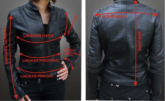 ukuran jaket kulit wanita